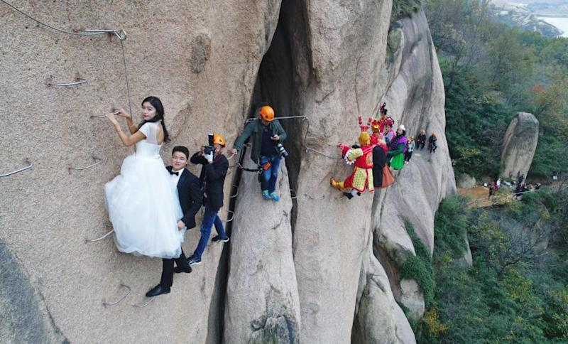 The shoot, which isn't for the faint-hearted, took place at Chaya Mountain, in the Henan Province. Photo: Australscope