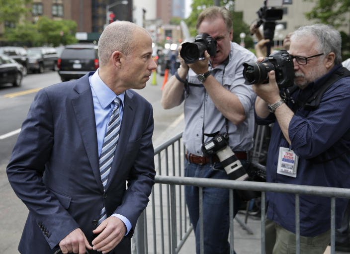 Michael Avenatti, attorney for Stormy Daniels, arrives at court in New York on Wednesday. (Photo: Seth Wenig/AP)