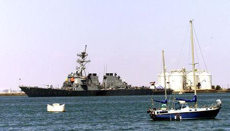 FILE PHOTO: THE U.S NAVY WARSHIP, COLE, FLOATS IN THE IN THE PORT OF ADEN.