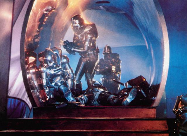 The Cylons attack in the 1978 version of <em>Battlestar Galactica</em>. (Photo: Universal Pictures/Courtesy Everett Collection)
