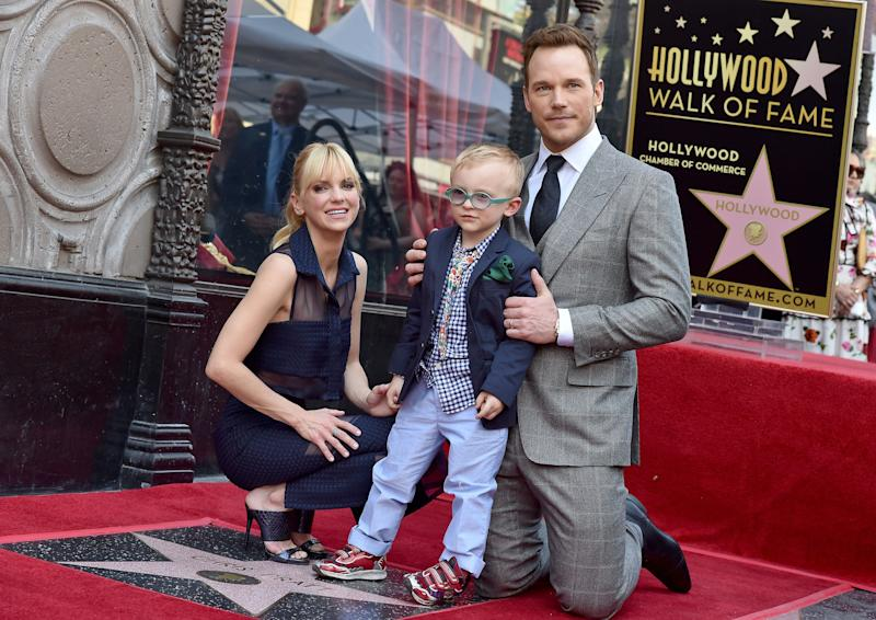 Chris Pratt, wife Anna Faris and son Jack Pratt attend hisHollywood Walk of Fameceremony. (Photo: Axelle/Bauer-Griffin via Getty Images)