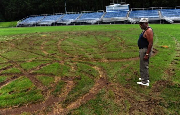 The damage at Ansonia High's Nolan Field — Connecticut Post