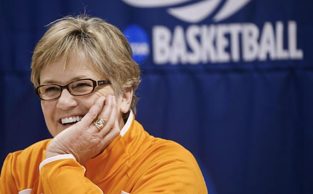 Tennessee head coach Holly Warlick answers questions during a news conference, Sunday, March 23, 2014, in Knoxville, Tenn. Tennessee is scheduled to play St. John's in an NCAA college basketball second-round tournament game Monday. (AP Photo/John Bazemore)