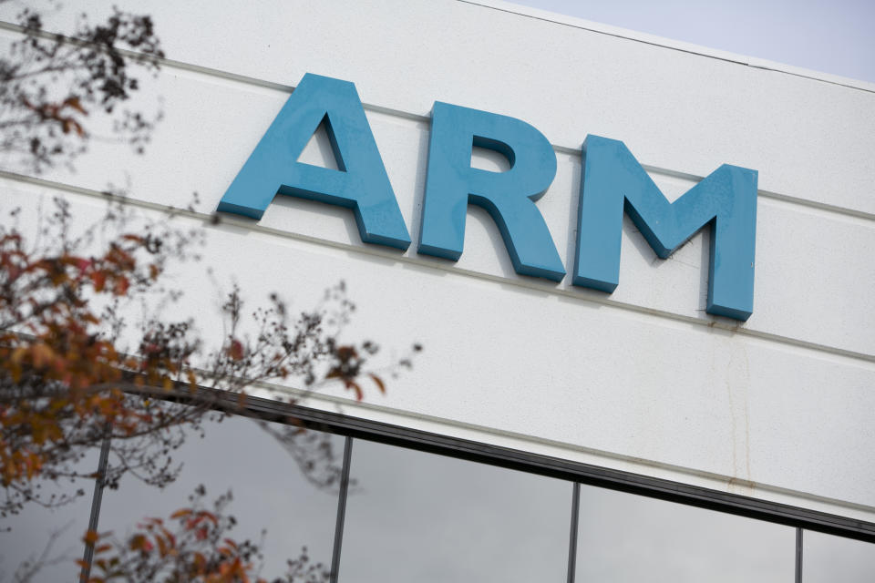 A logo sign outside an office building occupied by ARM Holdings plc, in San Jose, California on December 7, 2014. Photo Credit: Kristoffer Tripplaar/ Sipa USA *** Please Use Credit from Credit Field ***