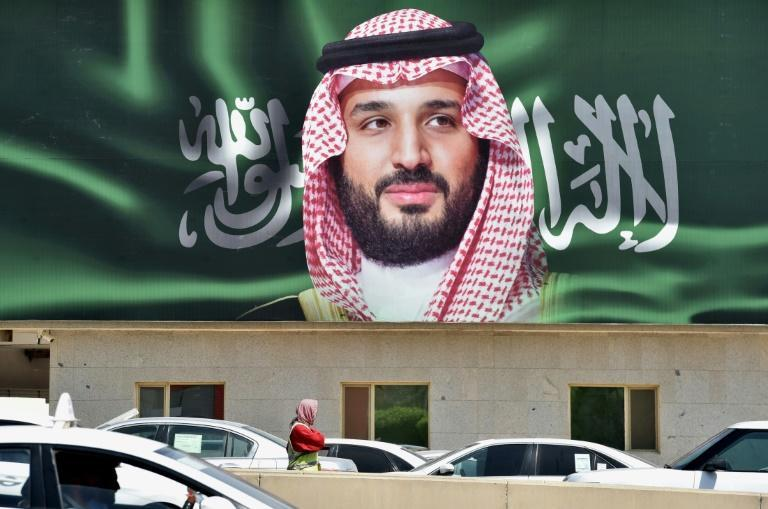 A picture taken on October 22, 2018 shows a portrait of Crown Prince Mohammed bin Salman in Riyadh, the de facto ruler of Saudi Arabia