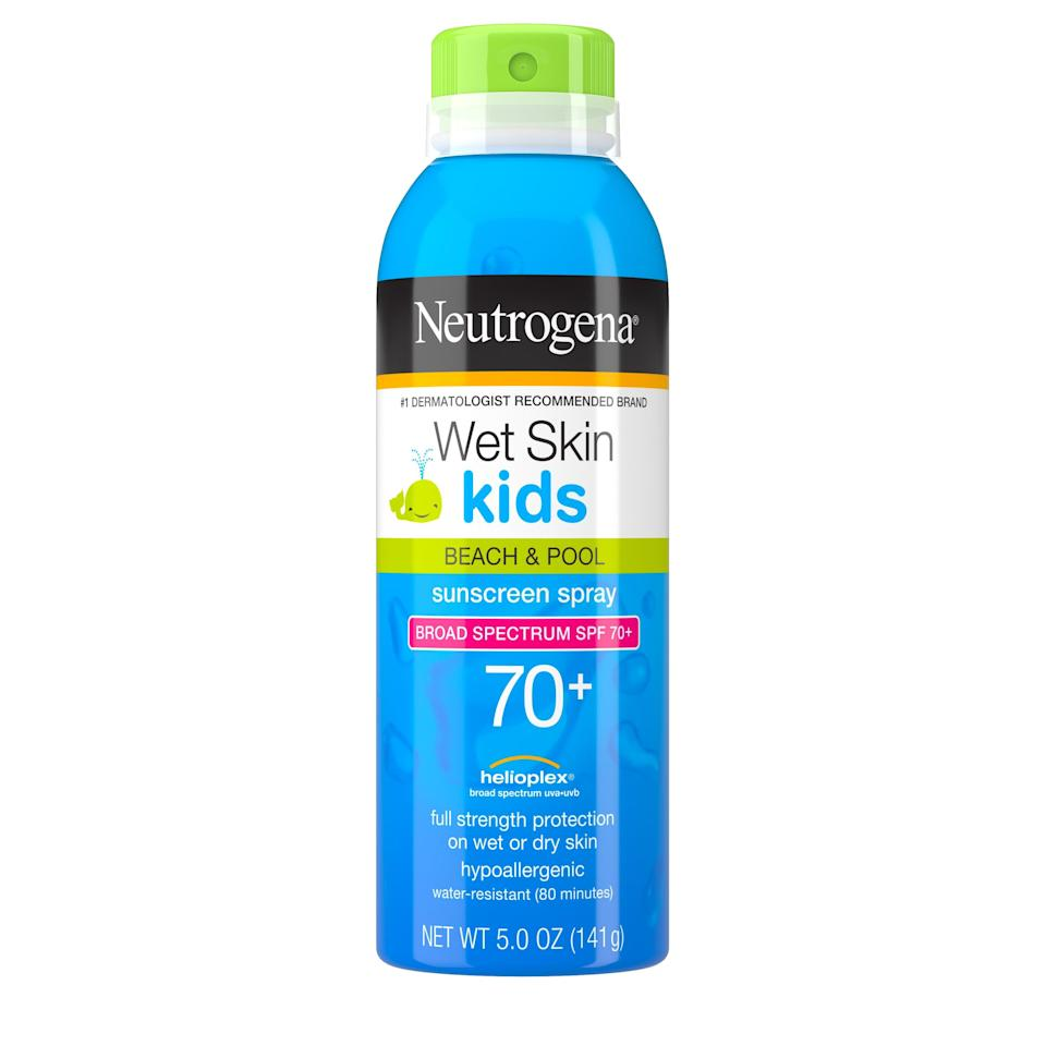 """<p><strong>Neutrogena</strong></p><p>walmart.com</p><p><strong>$10.72</strong></p><p><a href=""""https://go.redirectingat.com?id=74968X1596630&url=https%3A%2F%2Fwww.walmart.com%2Fip%2F17206685&sref=https%3A%2F%2Fwww.oprahdaily.com%2Fbeauty%2Fskin-makeup%2Fg27367862%2Fbest-sunscreen-for-kids%2F"""" rel=""""nofollow noopener"""" target=""""_blank"""" data-ylk=""""slk:Shop Now"""" class=""""link rapid-noclick-resp"""">Shop Now</a></p><p>Spray sunscreens are most effective when applied directly to the skin and then rubbed in, says Shainhouse. This SPF 70+ spray option rubs in easily to ensure adequate protection against UVA and UVB rays. """"I especially love the high SPF and the true water-resistant nature, says Chang. </p>"""