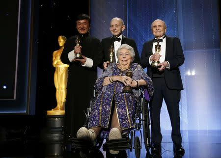 (L-R) Honorary Award winners Jackie Chan, Frederick Wiseman, Anne V. Coates and Lynn Stalmaster pose on stage at the 8th Annual Governors Awards in Los Angeles, California, U.S., November 12, 2016.  REUTERS/Mario Anzuoni