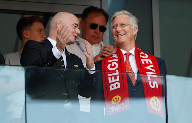 Soccer Football - World Cup - Group G - Belgium vs Tunisia - Spartak Stadium, Moscow, Russia - June 23, 2018 FIFA president Gianni Infantino with King Philippe of Belgium in the stand before the match REUTERS/Grigory Dukor
