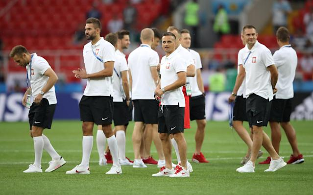 Soccer Football - World Cup - Group H - Poland vs Senegal - Spartak Stadium, Moscow, Russia - June 19, 2018 Poland players on the pitch before the match REUTERS/Carl Recine