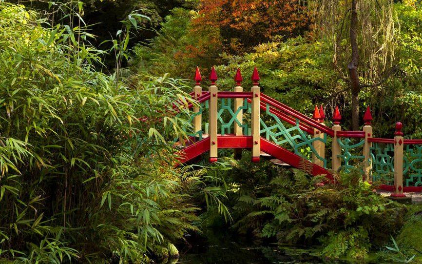 Bridge over the pool at Biddulph Grange Garden, Staffordshire - The National Trust Photolibrary