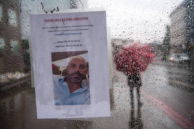 <p>A missing person notice is placed in a bus stop on London Bridge following Saturday's terrorist attack, on June 6, 2017 in London, England. (Photo: Carl Court/Getty Images) </p>