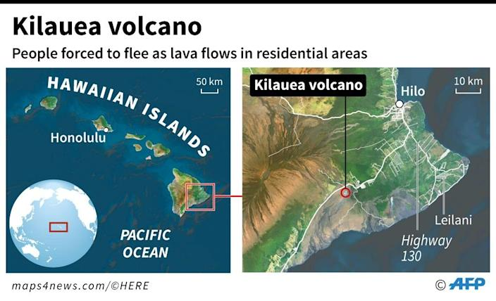 A map of the Hawaiian islands locating the Kilauea volcano, one of the world's most active volcanoes (AFP Photo/AFP )