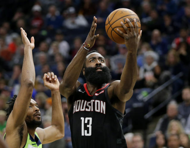 Behind a career-high 41 shots, James Harden led the Rockets to a dominant 20-point win against the Timberwolves on Saturday night. (AP/Andy Clayton- King)