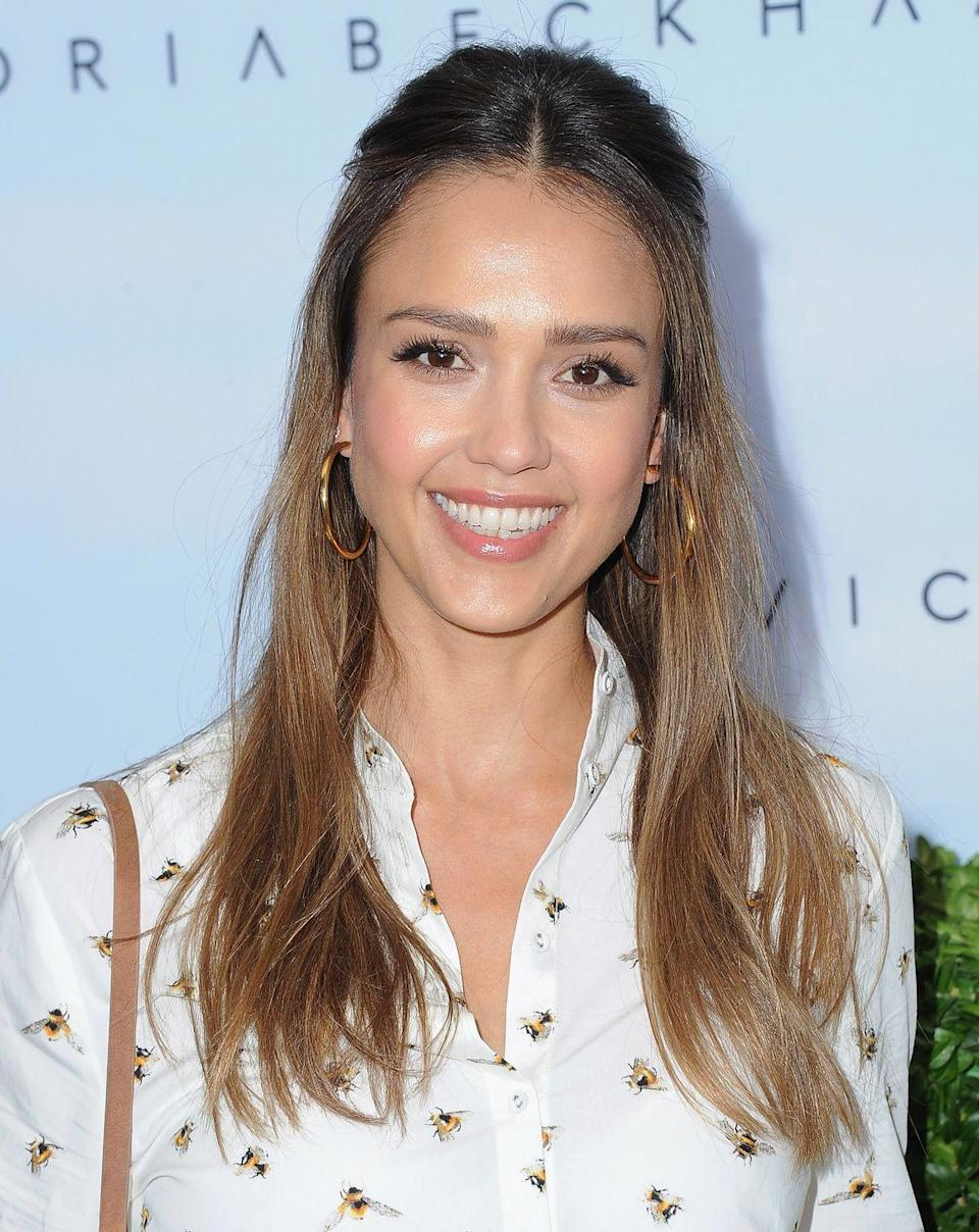"""<p>The secret to Jessica's glowing skin? Sleep. Well, at least that's part of it. 'But really my skin looks best when I sleep—when I'm on vacation it's perfect,' she told <a href=""""https://www.shape.com/celebrities/interviews/jessica-alba-beauty-motherhood-tips"""" rel=""""nofollow noopener"""" target=""""_blank"""" data-ylk=""""slk:Shape"""" class=""""link rapid-noclick-resp"""">Shape</a>.</p>"""