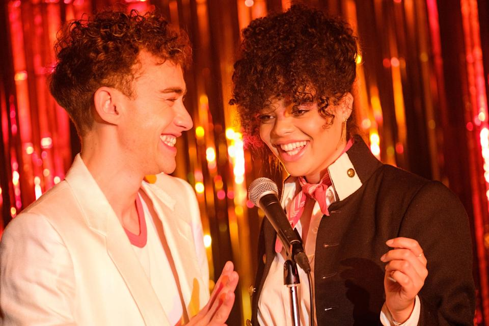 <p>Olly Alexander and Lydia West play best pals Ritchie and Jill</p> (Channel 4)
