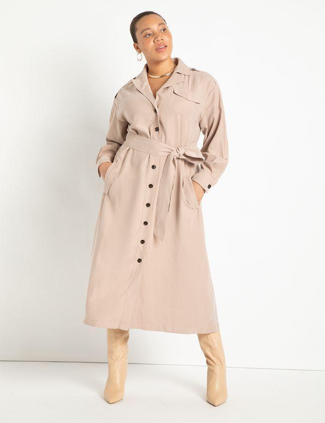 """<h2>Eloquii Long Trench Dress</h2><br><strong><em>The Closet Staple</em></strong><br><br>'Tis the season for sleek <a href=""""https://www.refinery29.com/en-us/trench-coats-for-women"""" rel=""""nofollow noopener"""" target=""""_blank"""" data-ylk=""""slk:trench coats"""" class=""""link rapid-noclick-resp"""">trench coats</a>, and we've got our eye on the kind that can double as a dress. This ankle-grazing option does just that with an extra-long length that's extra chic. <br><br><strong>The Hype: </strong>5 out of 5 stars; 7 reviews on Eloquii.com<br><br><strong>What They're Saying</strong>: """"I love everything about this dress ! I like the weight of the fabric. it is definitely on trend for cooler weather.. I am 5'9. The length is perfect. I love the side pockets, the color and the comfort...."""" — Connie W., Eloquii reviewer<br><br><em>Shop <strong><a href=""""https://www.eloquii.com/long-trench-dress/1247888.html"""" rel=""""nofollow noopener"""" target=""""_blank"""" data-ylk=""""slk:Eloquii"""" class=""""link rapid-noclick-resp"""">Eloquii</a></strong></em><strong><em><br></em></strong><br><br><strong>Eloquii</strong> Long Trench Dress, $, available at <a href=""""https://go.skimresources.com/?id=30283X879131&url=https%3A%2F%2Fwww.eloquii.com%2Flong-trench-dress%2F1247888.html%3Fdwvar_1247888_colorCode%3D35"""" rel=""""nofollow noopener"""" target=""""_blank"""" data-ylk=""""slk:Eloquii"""" class=""""link rapid-noclick-resp"""">Eloquii</a>"""