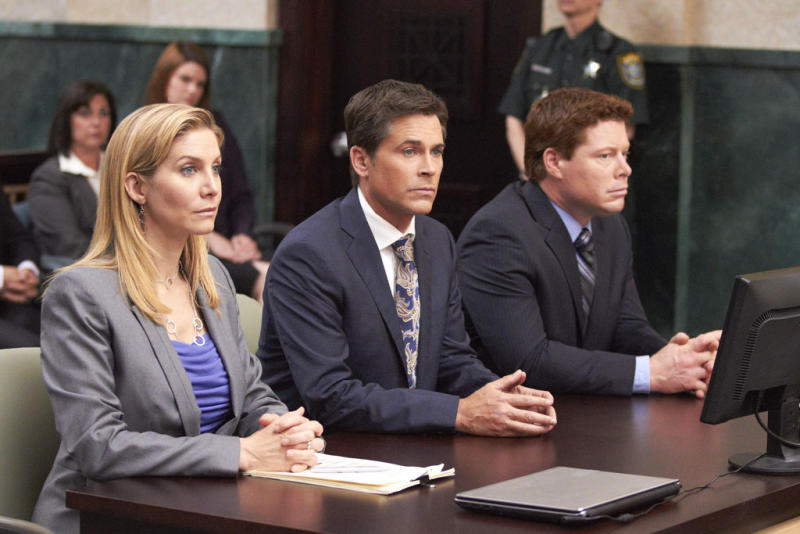 "Elizabeth Mitchell (Linda Burdick), Rob Lowe (Jeff Ashton) and David Richmond-Peck (Frank George) in the Lifetime Original Movie, ""Prosecuting Casey Anthony."""