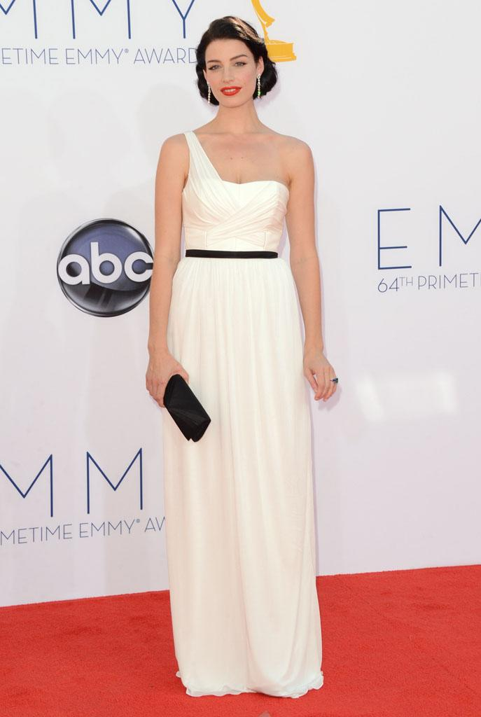 BEST: Mad Men's Jessica Pare went for a black and white look with a bold red lip.