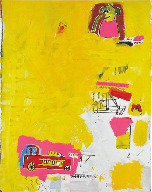 'Pink Elephant with Fire Engine' by Jean-Michel Basquiat (1984)