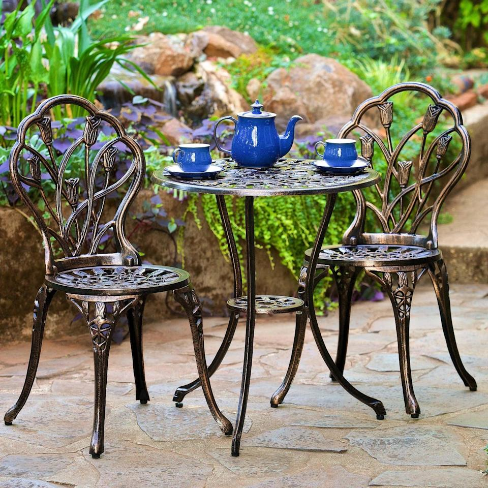 <p>You'll want to have a tea party with this sophisticated <span>Nassau Cast Aluminum Patio Bistro Set</span> ($180).</p>