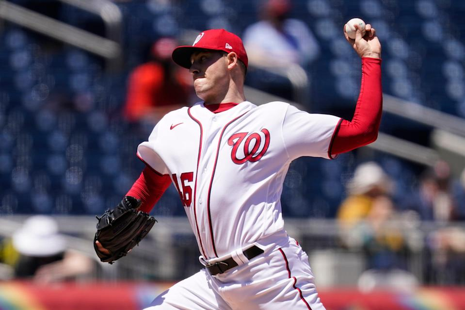 Washington Nationals starting pitcher Patrick Corbin throws during the first inning of a baseball game against the Philadelphia Phillies at Nationals Park, Thursday, May 13, 2021, in Washington. (AP Photo/Alex Brandon)