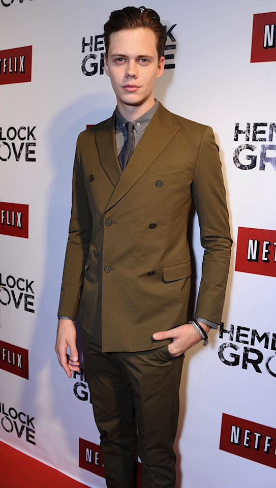 """Bill Skarsgard arrives at the """"Hemlock Grove"""" North America premiere for Netflix on Tuesday April 16, 2013, in Toronto."""