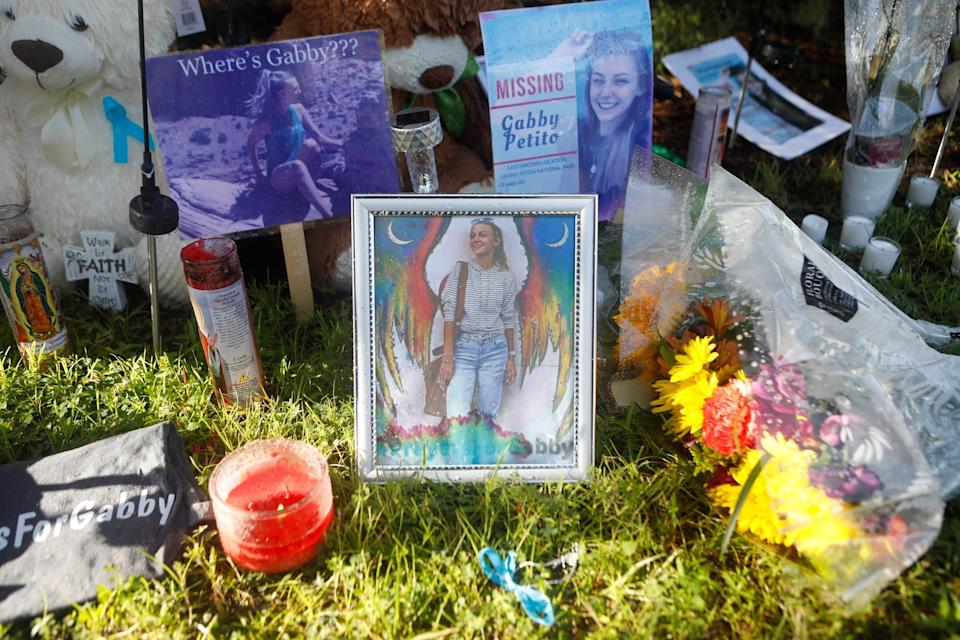 A makeshift memorial dedicated to Gabby Petito is set up near City Hall in North Port, Fla.