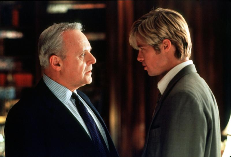 William Parrish (Sir Anthony Hopkins ) Confronts An Otherworldy Figure In The Guise Of A Young Man ( Brad Pitt ) In Universal Pictures' Meet Joe Black. (Photo By Getty Images)