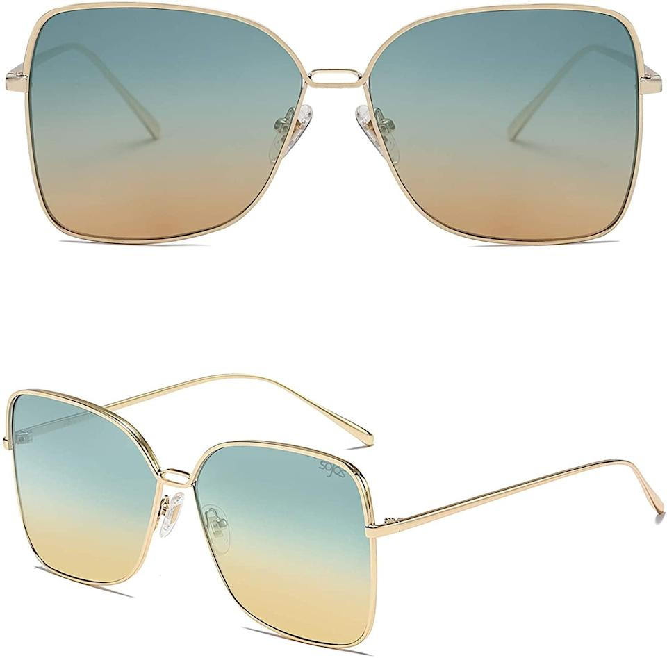 <p>Make a statement in this trendy yet unique <span>SOJOS Square Aviators Sunglasses</span> ($15).</p>