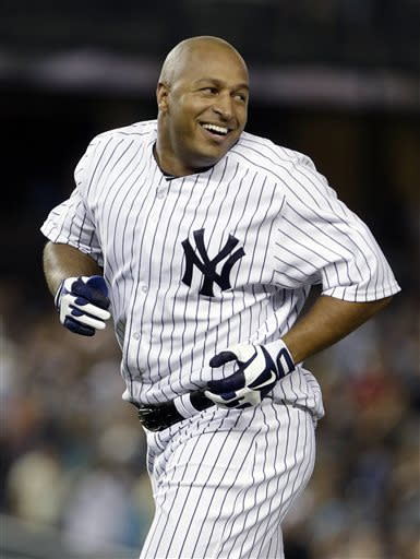 New York Yankees' Vernon Wells reacts after hitting an RBI-single to win a baseball game against the Baltimore Orioles, Friday, July 5, 2013, in New York. The Yankees won the game 3-2. (AP Photo/Frank Franklin II)