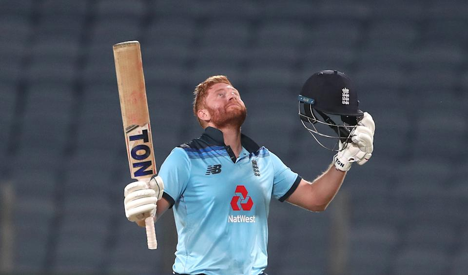 England batsman Jonathan Bairstow celebrates his century during the 2nd One Day International between India and England at MCA Stadium on March 26, 2021 in Pune, India.