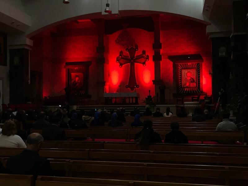 The Our Lady of Perpetual Help church in Erbil, Iraq, is lit up for a #RedWednesday vigil. (Courtesy Archbishop Bashar Warda)
