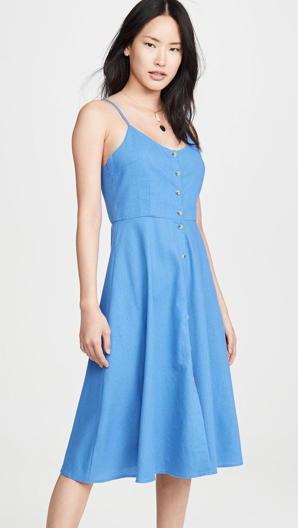"<p>This <a href=""https://www.popsugar.com/buy/Rolla-Eve-Linen-Dress-574495?p_name=Rolla%27s%20Eve%20Linen%20Dress&retailer=shopbop.com&pid=574495&price=99&evar1=fab%3Aus&evar9=46355415&evar98=https%3A%2F%2Fwww.popsugar.com%2Ffashion%2Fphoto-gallery%2F46355415%2Fimage%2F47609241%2FRolla-Eve-Linen-Dress&list1=shopping%2Cdresses%2Csummer%2Cproducts%20under%20%24100%2Csummer%20fashion&prop13=api&pdata=1"" class=""link rapid-noclick-resp"" rel=""nofollow noopener"" target=""_blank"" data-ylk=""slk:Rolla's Eve Linen Dress"">Rolla's Eve Linen Dress</a> ($99) is a classic.</p>"