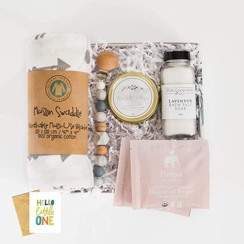 """<p><strong>Unboxme Gifts</strong></p><p>amazon.com</p><p><strong>$46.00</strong></p><p><a href=""""https://www.amazon.com/dp/B08Z6KN4KK?tag=syn-yahoo-20&ascsubtag=%5Bartid%7C10049.g.37405085%5Bsrc%7Cyahoo-us"""" rel=""""nofollow noopener"""" target=""""_blank"""" data-ylk=""""slk:Shop Now"""" class=""""link rapid-noclick-resp"""">Shop Now</a></p><p>Trust that Amazon will always provide quality, yet budget-friendly stuff! This affordable box comes with relaxing treats for the new mom, but also a pacifier for the newborn. </p>"""