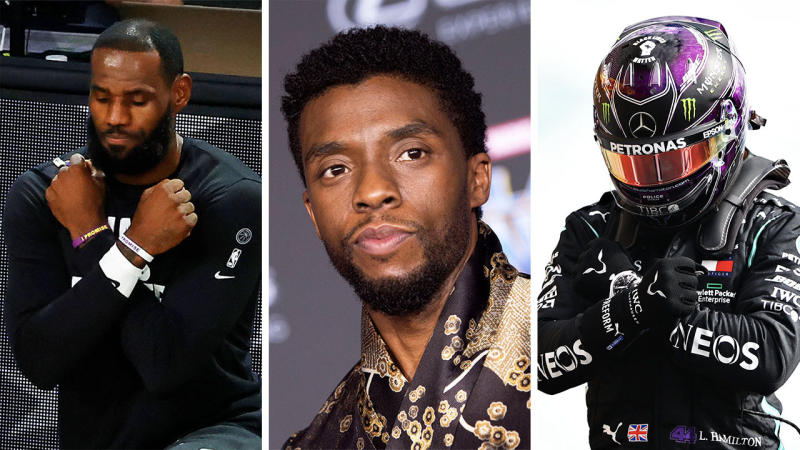 LeBron James (pictured left) and Lewis Hamilton (pictured right) perform the 'Wakanda Forever' salute after the death of actor Chadwick Boseman (pictured middle). (Getty Images)