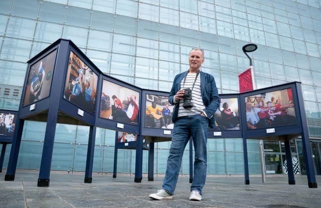 Stuart Roy Clarke at the launch of the new Homes of Football exhibition at the National Football Museum