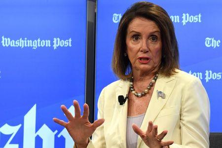 House Speaker Nancy Pelosi (D-CA) speaks during an interview with Washington Post Live by political reporter Robert Costa on stage at their offices in Washington