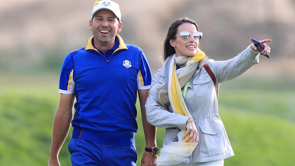 Sergio Garcia, pictured here with wife Angela at the Ryder Cup in 2018.