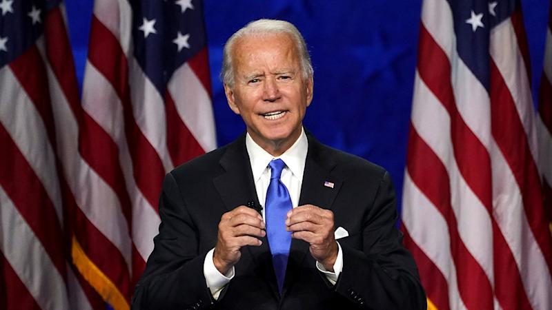 Joe Biden accepts the 2020 Democratic presidential nomination during a speech delivered at the Democratic National Convention on Thursday. (Kevin Lamarque/Reuters)