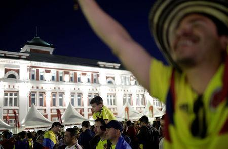 Colombian fans are pictured at FIFA Fan Fest in downtown of Saransk, Russia June 18, 2018. REUTERS/Ricardo Moraes