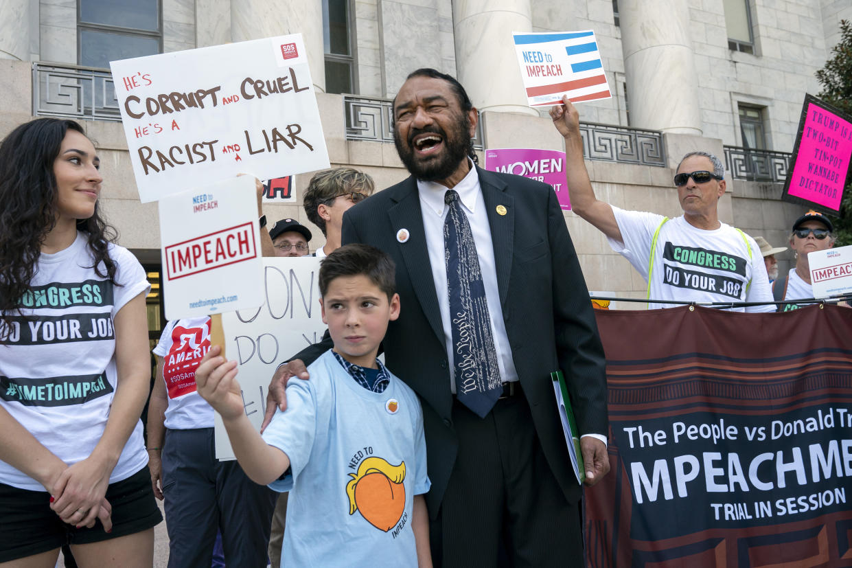 Rep. Al Green, D-Texas, joins impeachment activists with a youth-led group, By The People, to call for Congress to remove President Donald Trump from office, outside the Rayburn House Office Building on Capitol Hill in Washington, Monday, Sept. 23, 2019.  (Photo: J. Scott Applewhite/AP)