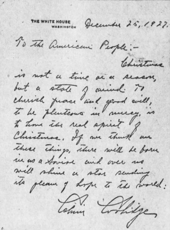 <p>The 1927 Christmas greeting from Calvin Coolidge.</p>US Government
