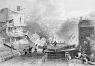 """<p>The 363-mile-long <a href=""""https://www.inventionandtech.com/content/engineering-erie-canal-2"""" rel=""""nofollow noopener"""" target=""""_blank"""" data-ylk=""""slk:Erie Canal"""" class=""""link rapid-noclick-resp"""">Erie Canal</a> connects the <a href=""""https://www.history.com/topics/landmarks/erie-canal"""" rel=""""nofollow noopener"""" target=""""_blank"""" data-ylk=""""slk:Atlantic Ocean with the Great Lakes"""" class=""""link rapid-noclick-resp"""">Atlantic Ocean with the Great Lakes</a>. The eight-year project wrapped up in 1825 and uses 83 locks. To make it work, engineers needed to use gunpowder for blasting—there was no dynamite yet—and create cement capable of setting underwater.</p>"""