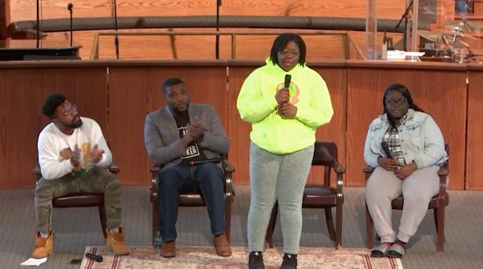 """Students from Miami's LibertyCity speak about theproblem of gun violence in their communities, at an eventin Atlanta on March 22, 2018. (Photo: <a href=""""https://www.huffingtonpost.com/entry/black-teens-speak-out-gun-violence-march-for-our-lives_us_5ab45676e4b008c9e5f5c6fe"""" target=""""_blank"""">Live Free</a>)"""