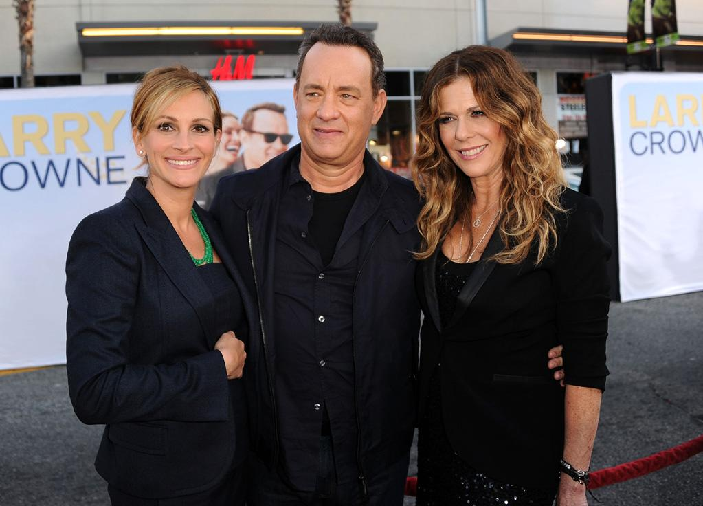 "<a href=""http://movies.yahoo.com/movie/contributor/1800019215"">Julia Roberts</a> <a href=""http://movies.yahoo.com/movie/contributor/1800010392"">Tom Hanks</a> and <a href=""http://movies.yahoo.com/movie/contributor/1800019302"">Rita Wilson</a> at the Los Angeles premiere of <a href=""http://movies.yahoo.com/movie/1810196533/info"">Larry Crowne</a> on June 27, 2011."