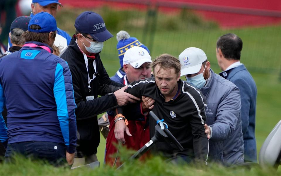 Tom Felton collapses on 18th hole at Whistling Straits during Ryder Cup Celebrity Match - AP