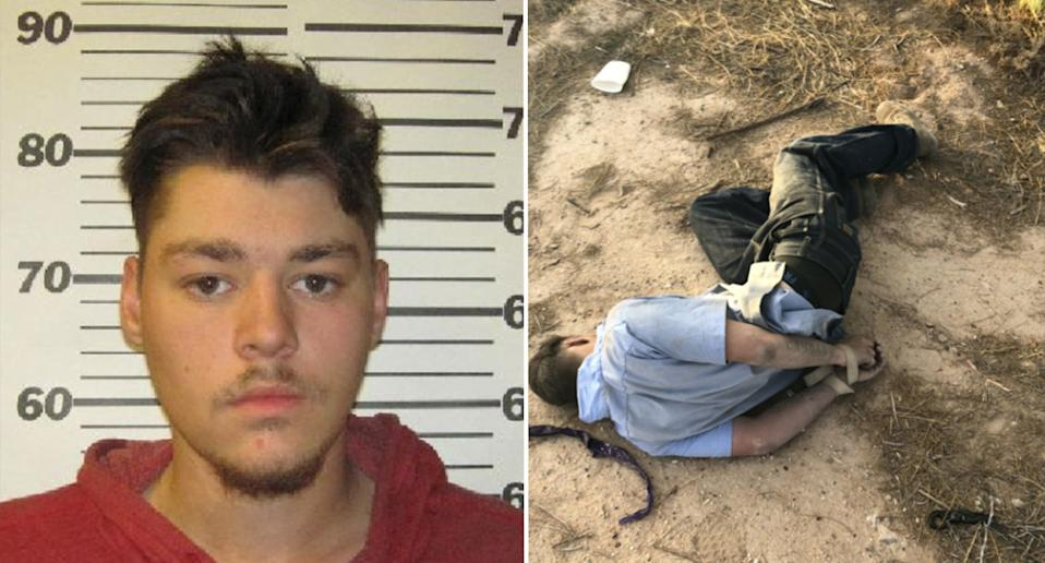 Brandon Soules, 19, pictured left in a mugshot and right with his hands tied behind his back.