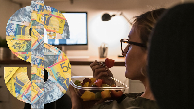 Pictured: Woman watches Netflix while eating Uber Eats, and Australian cash in shape of dollar sign. Images: Getty