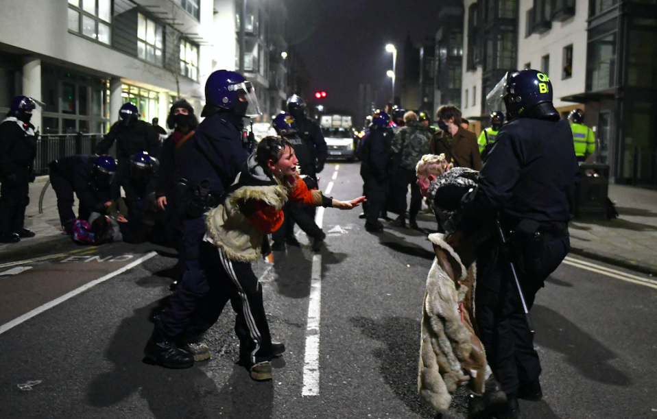 Police made several arrests following another night of protests in Bristol. (SWNS)