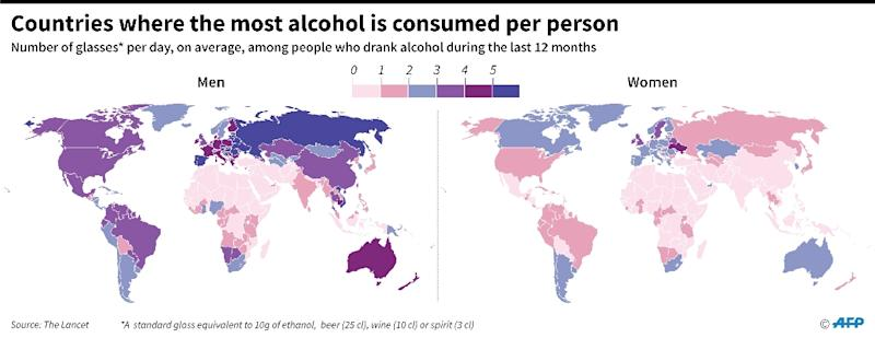 The heaviest drinkers: Countries were the most alcohol is consumed per person (AFP Photo/Simon MALFATTO)